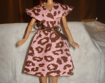 Modest handmade pink and brown Leopard print wrap dress for Fashion Dolls - ed378