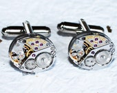 LONGINES Men Steampunk Cufflinks - Luxury Swiss Silver Vintage Watch Movement Steampunk Cufflinks / Watch Cuff Links Men Wedding Gift