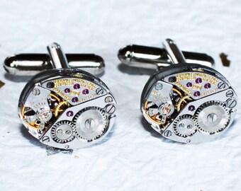 LONGINES Men Steampunk Cufflinks - Luxury Swiss Silver Vintage Watch Movement Steampunk Cufflinks / Watch Cuff Links Men Wedding Gift