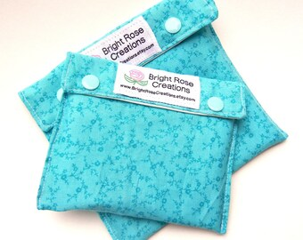 Back to School Reusable Sandwich Bags Snack Tote, Teal Turquoise Floral, Washable, Water Proof, Go Green, Eco Friendly, Environmental