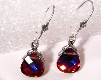 Red Crystal Earrings: Red Blue Volcano Swarovski Crystal Briolette and Silver Dangle Earrings