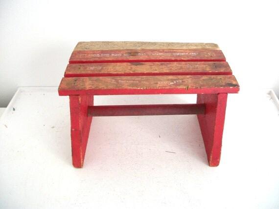 Vintage Red Wood Kids Bench