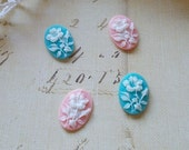 Resin, Cameo, Cabochon, Scrapbooking embellishment, Flowers