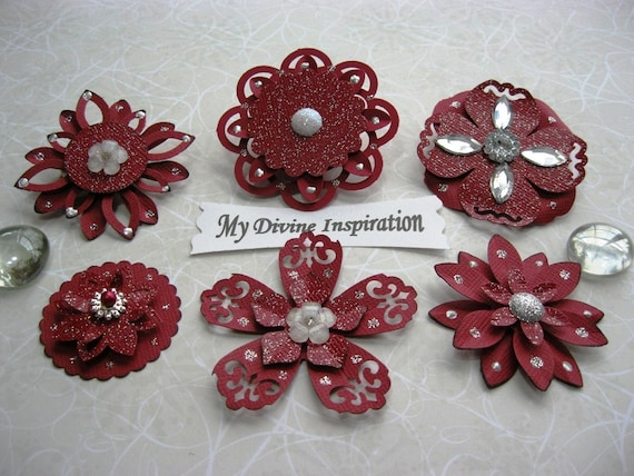 Burgundy and Silver Paper Embellishments and Paper Flowers for Scrapbooking Cards Mini Albums and Papercrafts
