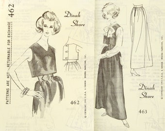 Vintage 1960s Designer Evening Skirt Top Patterns Uncut Bust 36 Set of 2 Spadea 462 463 Size 14  Dinah Shore