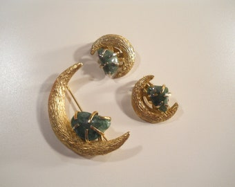 Vintage Crescent Moon Brooch and Earrings, Holiday Pins, BSK Jewelry, Free Shipping