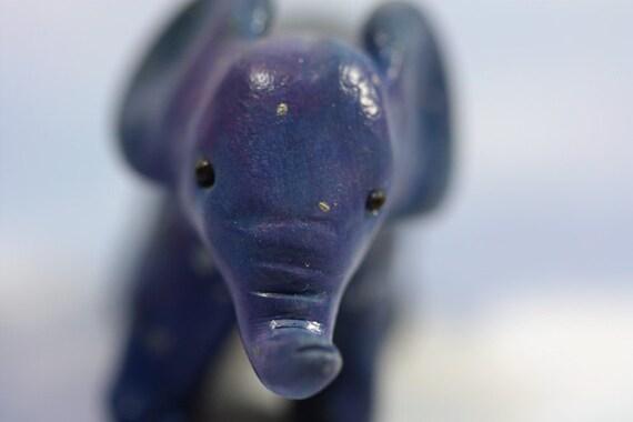 Starry Night Elephant Figurine in Celestial Blue OOAK Original Sculpture