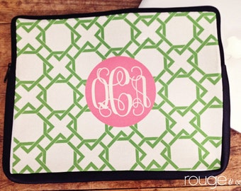 "LATTICE REVERSE personalized laptop sleeve 13"" or 15""  monogram - NEW elastic tabs give you the option to keep the sleeve on while you work"