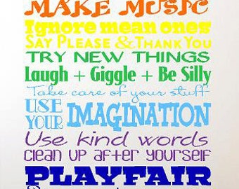 Playroom Rules -Children-Vinyl Lettering custom removable decal  family wall art  words graphics Home decor itswritteninvinyl