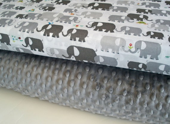 "Cloud9 Organic and Minky Fabric Bundle in Happy Drawing Elephants, Complete Kit to Make a Baby Blanket (28""x34""), PDF Pattern Included"