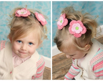 barret, clippies, Set of Two Flower Hair Clips - Shown in pink and soft pink with a lime button center- custom colors available
