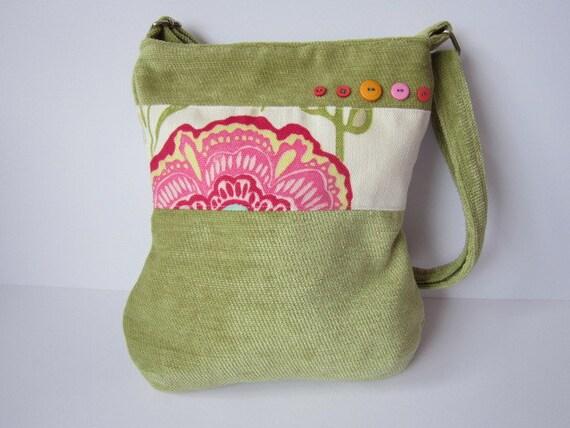 Flower & Leaf Green Shoulder Bag Adjustable Strap Buttons Zip Chenille Velvet