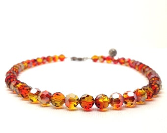 Red Beaded Necklace, Orange Beaded Necklace, Ombre Necklace, Red Ombre, Red Necklace, Orange Necklace,  Swarovski Crystal Necklace,