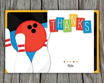Bowling thank you cards, bowling party thank yous, birthday folded thank you cards, thank you notes, set of 10 printed with envelopes