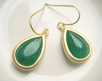 Gold matte and rutilated green glass pear shaped earrings G2077G