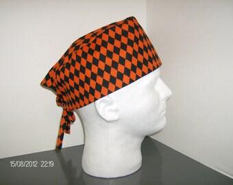 Halloween Black and Orange Harlequin Diamonds Scrub Cap