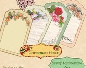 Digital Collage Sheet PRETTY SUMMERTIME TAGS printable paper gift tags mirrors magnets cards 371 instant download