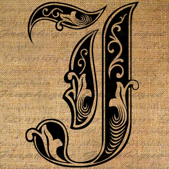 Letter J In Different Style Letter initial j monogram old