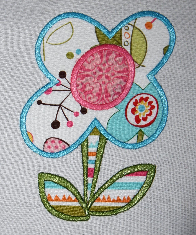 Stem flower machine embroidery applique design