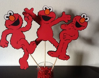 Large Elmo Centerpiece Picks - Full body - Set of 3