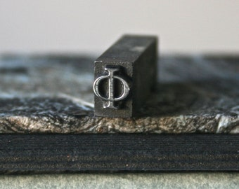 Vintage Letterpress Type Greek Letter Phi Drilled and Polished for Jewelry Making Assemblage Pendant