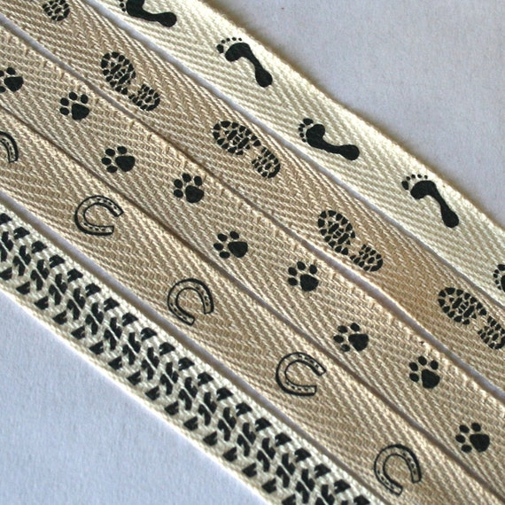 Printed Twill Tape - Animal Tracks, Tire Tracks, Footprints for Bookbinding, Gift Wrap or Sewing
