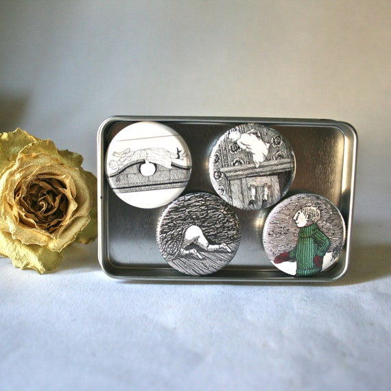 Edwards Gorey Children on Ceramic Magnets for Office Home Decor
