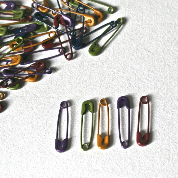Tiny colored safety pins for jewelry making craft supplies for Safety pins for crafts