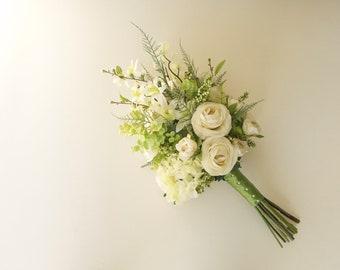 Green and White Forest Wedding Bouquet (Woodland Wedding) Hydrangea Bouquet, Ranunculus Bouquet, Ferns, Orchids, Apple Blossoms