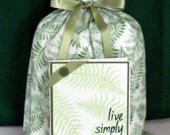 Fern Leaves Medium Fabric Gift Bag - Nature, Natural, Simple, Minimalist, Plant, Green, White, All Occasion