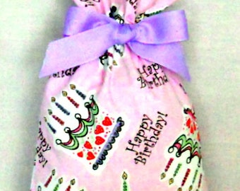 Happy Birthday on Pink Small Fabric Gift Bag - Cake, Cupcakes, Sprinkles, Candles, Glitter, Lavender, Green, Yellow, Black, White