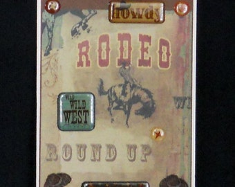 Cowboy Rodeo Round Up Blank Greeting Card - Country, Western, Cowboy Hat, Horse, Wild West, Cowboy Up, Howdy, Brown, Black, Burgundy