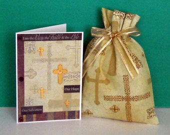 Gold Cross Small Fabric Gift Bag - Crosses, Religious, Inspirational, Spiritual, Christian, Ministry, Faith, Easter