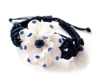 Handmade Porcelain Ceramic Flower Floral Focal Bead Adjustable Bracelet  T2834