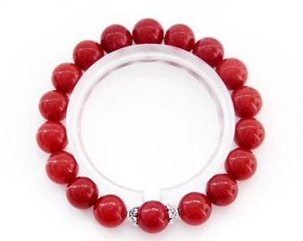 10mm Natural Red Stone Beaded Round Beads Charm Stretchy Bracelet  T2846