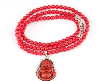 4mm Talisman Imitated Red Coral Beads Necklace With Fortune Buddha Amulet Pendant  T2893