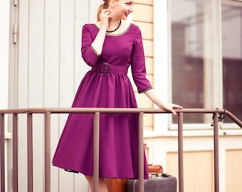 50s party dress in purple rayon, with a circle skirt and black lace details, sizes 0 to 16 / prom dress / bridesmaids dress / made to order