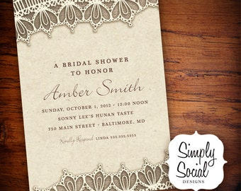 Rustic Chic Burlap and Lace Bridal Shower Invitation