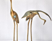 Pair of Vintage Brass Crane / Egrets