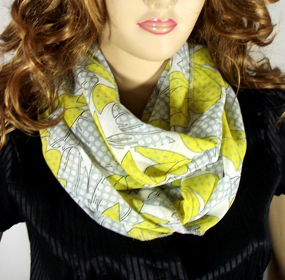 Floral Silk Infinity Scarf, YELLOW GRAY Polkadots Infinity Loop Scarf, Lightweight Circle Scarf Women Fashion Scarves Accessories