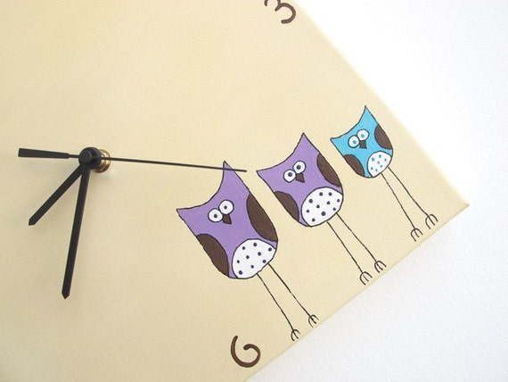 Personalized Kids clock -Custom Owls clock- Cream, turquoise and purple kids clock, Hand painted on canvas, children clock, kitchen clock