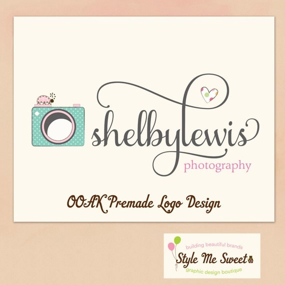 Premade Logo Design Hand Drawn - Cute Dotty Camera a Ladybug and Heart Text Photography Photographer Small Business Logo NEVER RESOLD