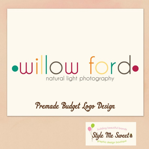 Premade Logo Design -  Multi Colour Text and Dots Photography Photographer Logo Premade Budget Logo