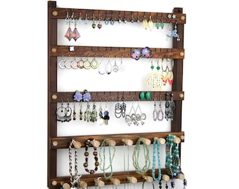 Jewelry Holder, Earrings Holder, Hanging, Wood, Caribbean Rosewood, Necklace Rack. 54 pairs, 15 pegs. Wall Mount Jewelry Organizer