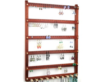 Jewelry Display - Earring Holder, Hanging, Bloodwood, Wood. Holds 120 pairs, 10 pegs.  Wall Mounted Earring Organizer - Jewelry Holder