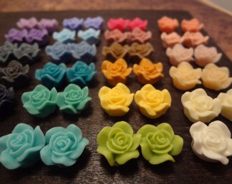 SALE 48PCS-24COLORS Rainbow Ruffle Camellia CMVision Exclusive-14mm white,ivory,pink,olivine,blue,mauve,yellow,Mocha,purple,turquoise RF01