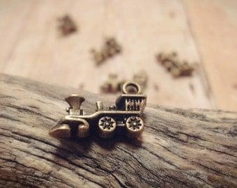 12pcs of Antique Bronze 15x8mm 3D Mini Train Charms P05-HK9150