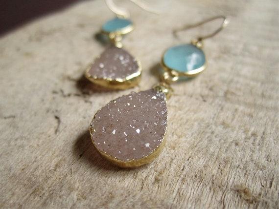 Pale Rose Druzy Earrings Drusy Quartz Bezel Set Chalcedony 14K Gold Fill