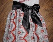 Arkansas Razorbacks HOGS Gameday Tube Dress Gray Preppy Subtle Strapless Frock with Satin Sash