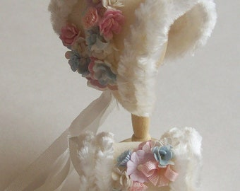 Handmade 1/12 dollhouse beautiful  cashmere fur trimmed bonnet and muff
